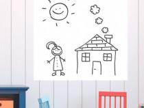Autocolant Sticker Tabla Scolara Scris cu Markerul - Alba