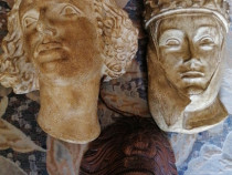 Antichitati Masca lemn abanos chip ceramica obiecte bronz