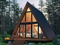 Case cabane lemn forma literei A