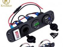 Panou auto cu voltmetru dual USB LED si priza bricheta