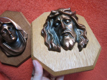 Decoratiune vintage,relief bronz pe lemn-cadou inedit