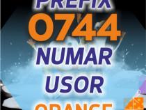 0744.81.x1.77 - Numar Prefix Vechi Orange usor aur gold VIP