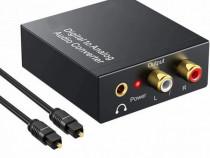 Convertor audio digital optic toslink tv in to la analog rca