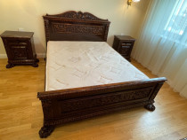 Dormitor florentin, lemn masiv, sculptat manual, 5 piese