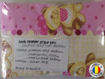 Lenjerie de pat copii roz 120 x 60 cm din bumbac 100%
