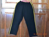 Pantaloni de trening negri cu dungi galbene
