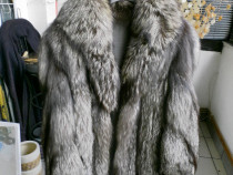 Haina din blana vulpe argintie