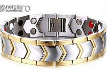 Brăţară Magnetică din INOX 316L placată cu aur - cod BRA005