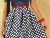 Rochie ladonna dots mirage darkblue + cadou surpriza