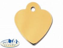 Medalion Inima Mica Pet Scribe Suflat cu Aur