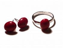 Inel delicat si cercei cu surub din Argint 925 si Coral rosu