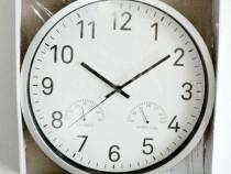 Ceas de perete mare, cu termometru si higrometru – argintiu