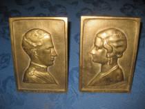 Regii Leopold 2 si Regina SM Astrid Belgia cca 1900, bronz.