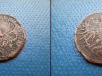 Moneda veche Italia-1 Soldo 1862 bronz,cca 2cm.