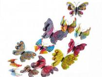 Fluturi decor 3D cu aripi duble,colorati cu model