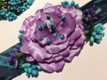 Brau lila cu verde, stamine si pietre semipretioase turcoaz