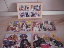 Joc pentru copii Puzzle, Catei - 4 panouri din lemn (48