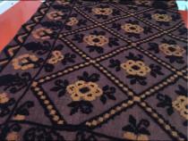 Cuvertura lana,tesuta manual,maro-negru,227x157 cm
