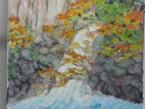 Cascada din padure 1-pictura ulei pe panza;Macedon Luiza