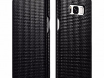 Husa piele naturala iCarer Woven Samsung S8, negru,coffee