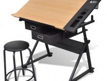 Masă de desen cu blat reglabil cu scaun 2 sertare (20087)