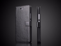 Husa piele fina Huawei P10 tip portofel, negru, maro coniac