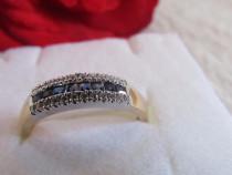 Inel aur galben 14k cu safire si diamante semnat