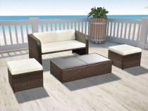 Set mobilier de grădină cu canapea 9 piese, maro (42480)