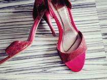 Sandale bordo cu paiete