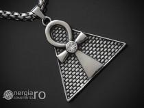 Amuleta Talisman Pandantiv Ankh pe Piramida INOX -cod PND065