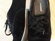Pantofi negri catifea Graceland Deichmann marime 36