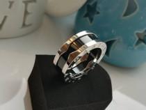Inel dama fashion placat cu aur bvlgari / bulgari argintiu