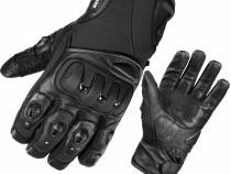 Manusi moto din piele -cu protectii,rezistente la apa -Black