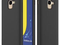 Husa Silicon Interior Catifea Neagra Samsung A7 J4 J6 Plus