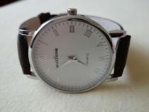 Ceas Casual brand Malloom bărbătesc cadran alb curea piele