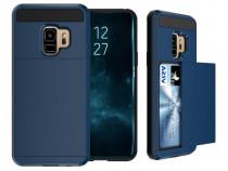 Husa Samsung Galaxy S9 Plus - Brushed Sliding Card Dark Blue