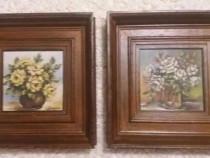 2 tablouri - vază cu flori, ulei pe pânză
