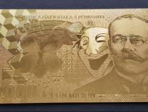 Bancnotă unc de 1.000.000 de lei placată cu aur de 24 k