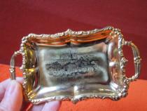 Tavă mică miniatura,vintage,metal aurit-Recuerdo Ibiza-cadou