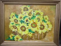 Tablou / Pictura floarea soarelui semnat Cimpoesu