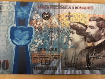 100 Lei 2018 Centenar bancnota aniversara unire argint