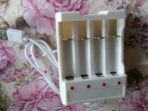 Incarcator baterii acumulatori,prin usb,AAA sau AA