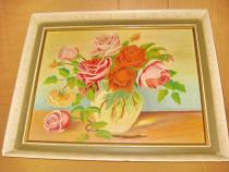 A456-Tablou Natura statica cu trandafiri ulei pe placaj.