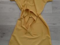 Rochie galben-muștar dreaptă cu cordon