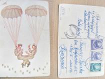 A619-I-Carte postala comica aviatori parasutisti romani 1954