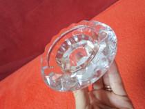Suport lumanare din sticla masiva-vintage-made Germany-cadou