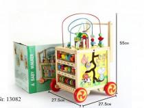 Antepremergator 6 in 1 cu activitati educative, lemn, multic