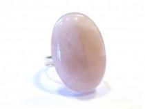 Inel statement Argint 925 si Cuart roz oval, inel mireasa