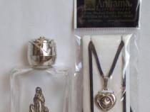 Sticluţă de mir si pandantiv religios, elemente argintate