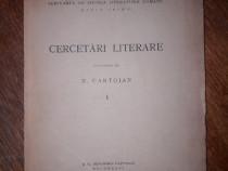 Cercetari literare - N. Cartojan 1934 (autograf) / R2P4F